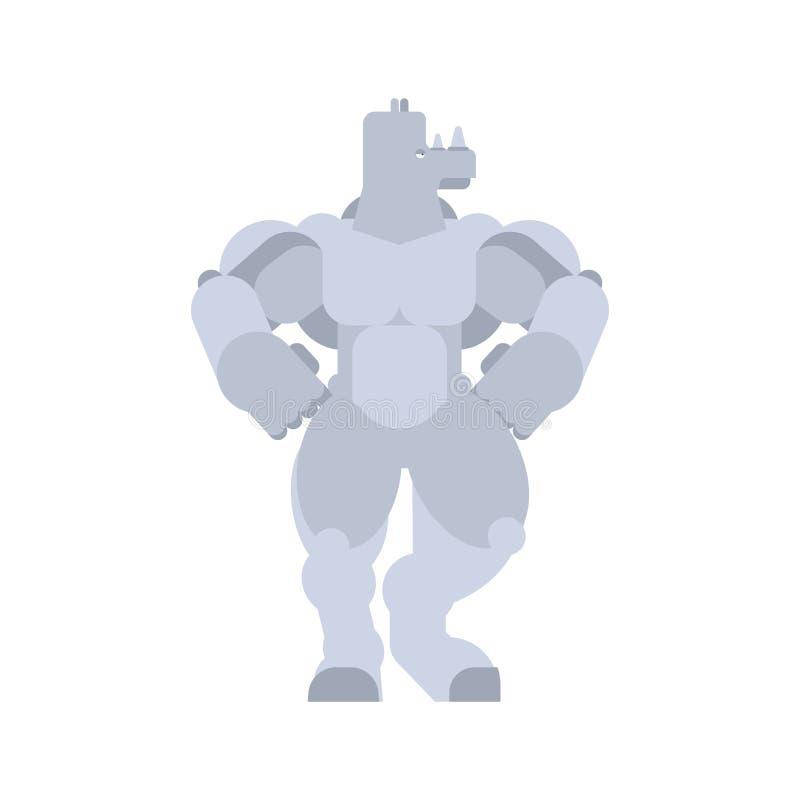 Strong Rhinoceros. Powerful Rhino. animal bodybuilder. hard beast.  royalty free illustration