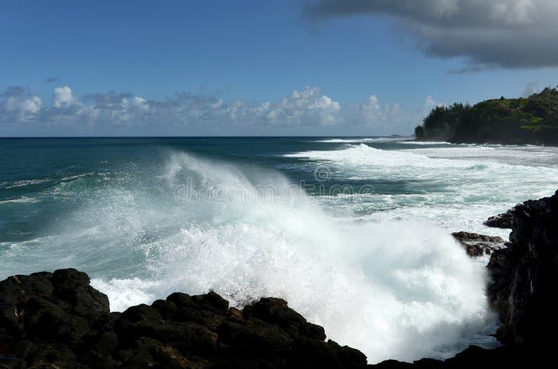 Strong Rip Currents at Kauai. View of strong rip currents at the north shore (near Queen's Bath) of Kauai, Hawaii, USA royalty free stock photos