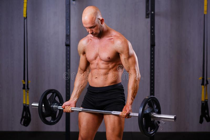 Strong ripped bald man bodybuilder working out with barbell in g. Ym. Sport, fitness, bodybuilding concept royalty free stock photo