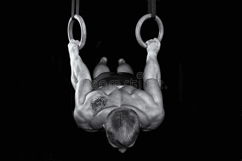 Strong gymnast works on the rings royalty free stock photography