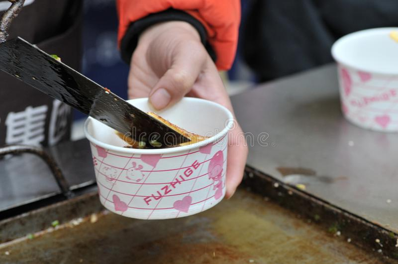 Strong-smelling preserved bean curd/fermented bean curd with smell/bean curd with odor. On festival gourmet festival which is prevalent Chinese delicacy stock photos