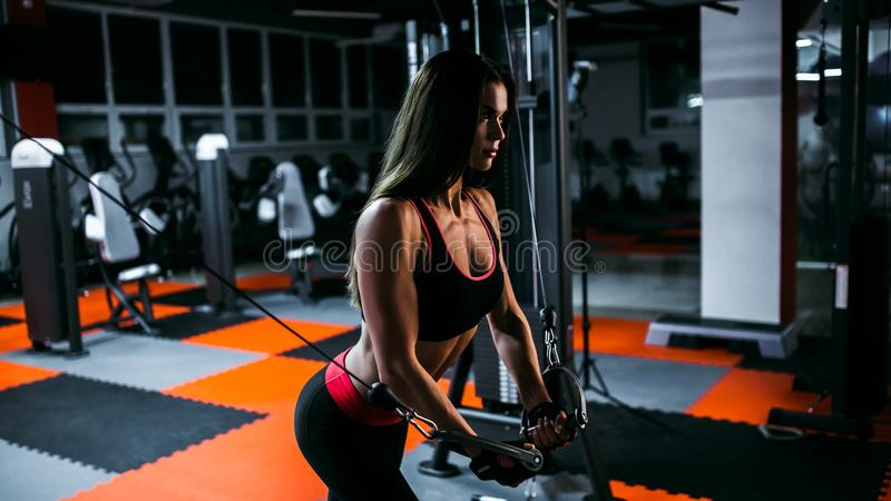 Strong Sporty girl in gym doing exercises.  stock image