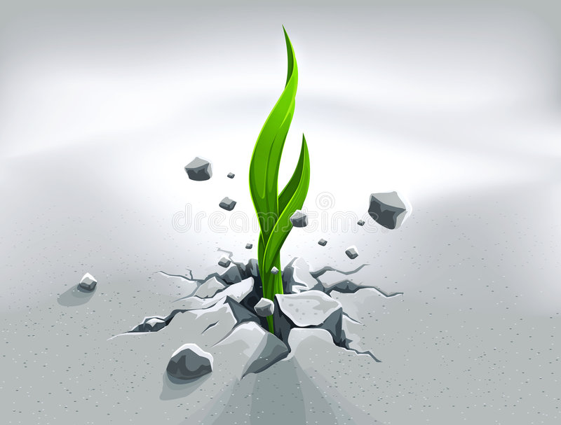 Strong sprout, pushing out royalty free illustration