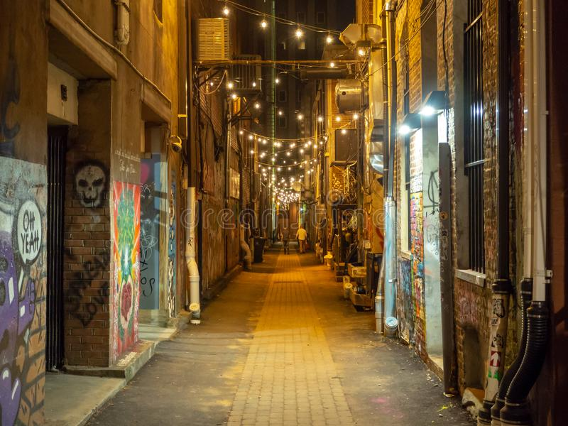 Strong Street Lights and Graffiti Art, Knoxville, Tennessee, United States of America: [Night life in the center of K. Strong Street Lights and Graffiti Art royalty free stock images