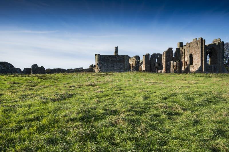 Lindisfarne priory on Holy Island off the Northumberland coast stock photo