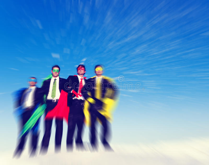 Strong Superhero Business Aspirations Confidence Success Concept.  royalty free stock images