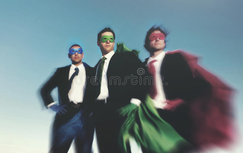 Strong Superhero Business Aspirations Confidence Success Concept.  royalty free stock image