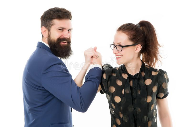 Strong team. Couple colleagues man with beard and pretty woman on white background. Business partners leadership and. Strong team. Couple colleagues men with stock image