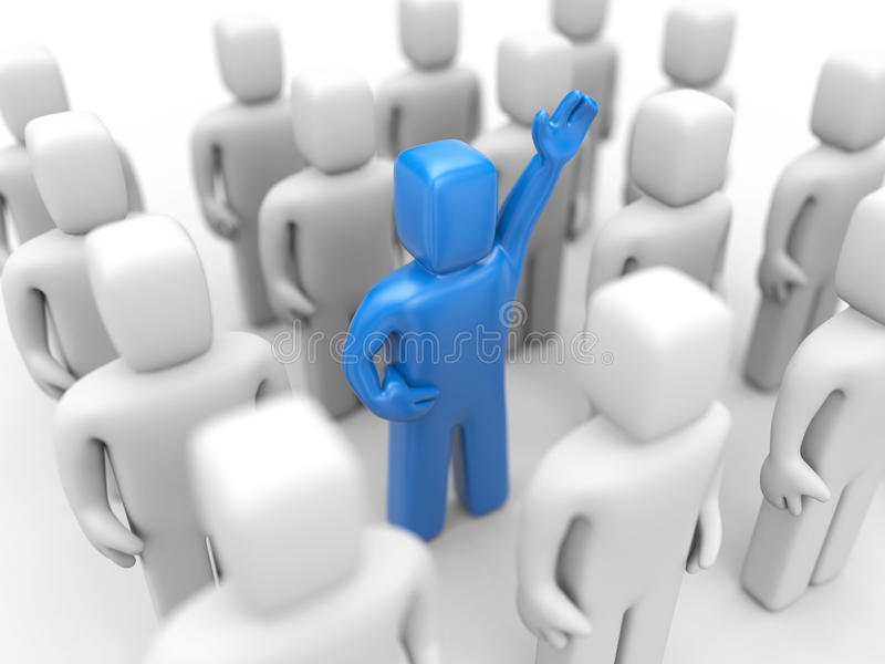 Strong team with different person stock illustration
