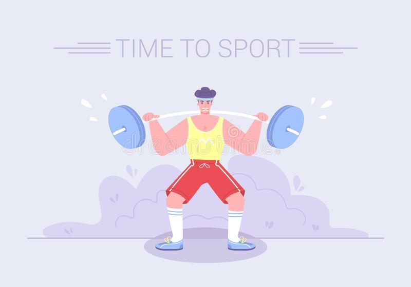A strong tense athlete raises a heavy barbel royalty free illustration