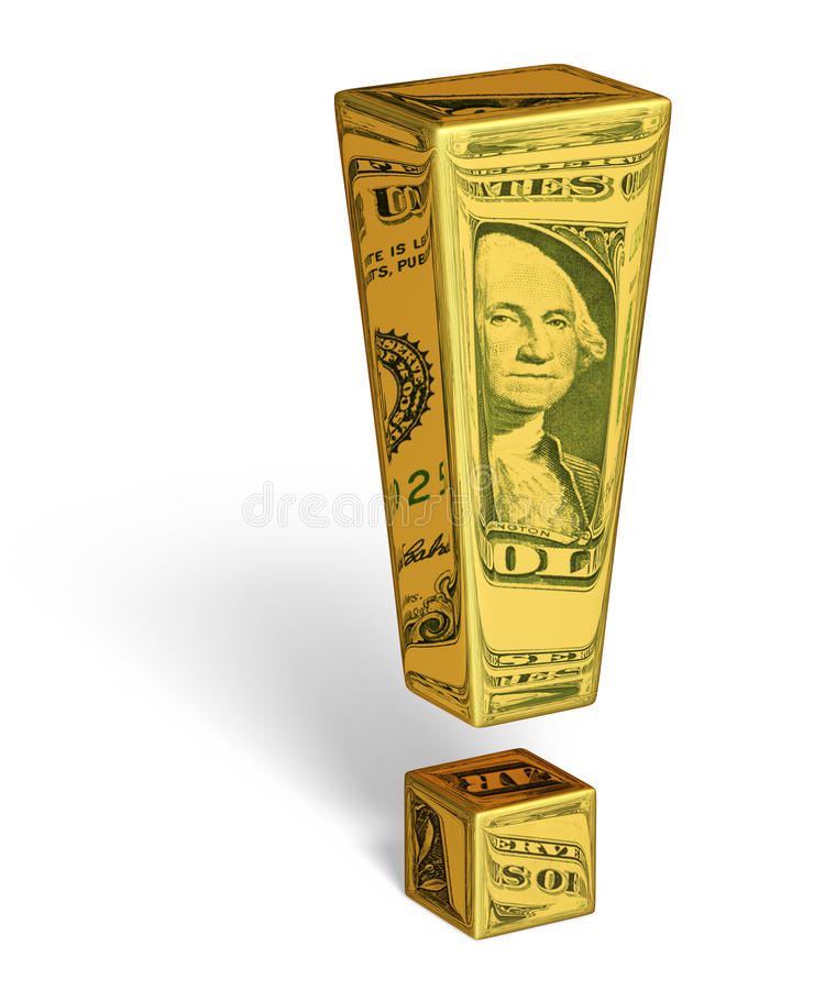 Strong U.S. Dollar. A gold exclamation mark with images of U.S. dollar bills reflecting off it's surface. Isolated on white with shadow. Includes clipping path stock illustration