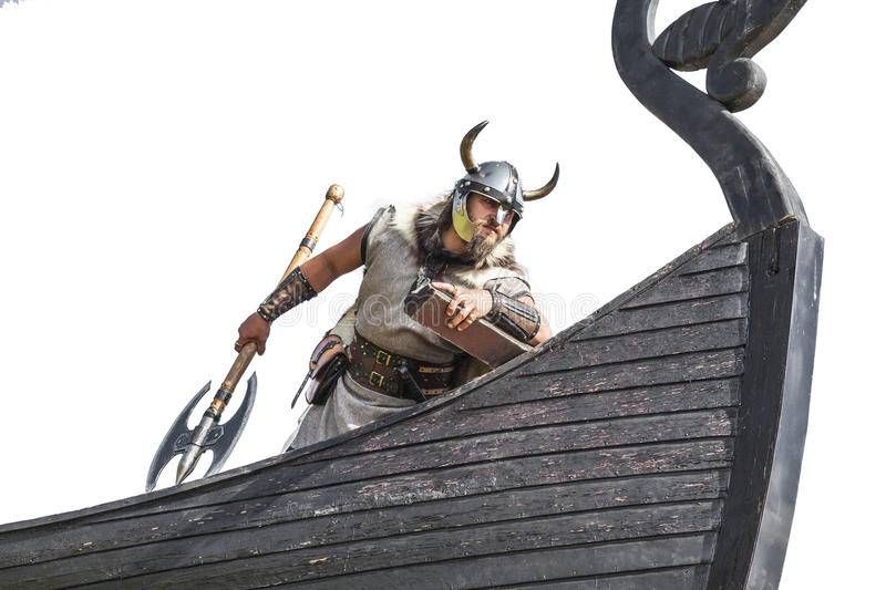 Strong Viking on his ship. stock photos