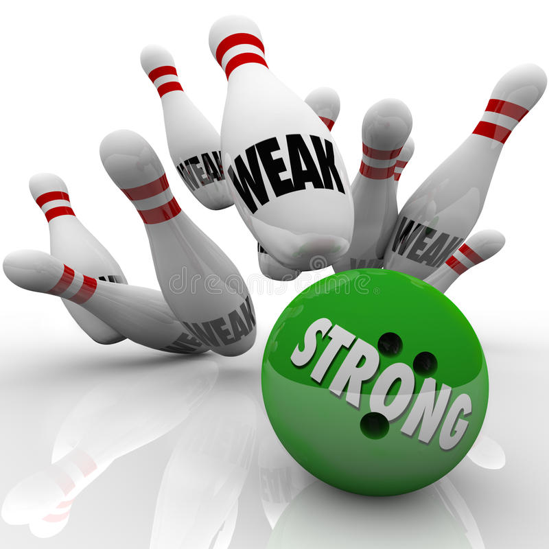 Strong Vs Weak Bowling Competitive Advantage. Strong bowling bowl strikes pins marked Weak to illustrate the strength of competitive advantage to win a game stock illustration