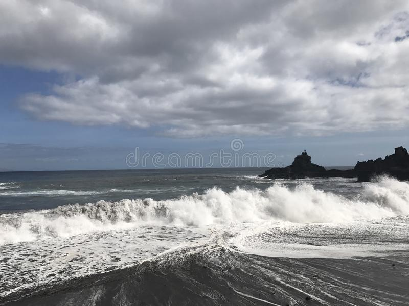 Strong waves , furious sea. Strong waves in la gomera royalty free stock photos