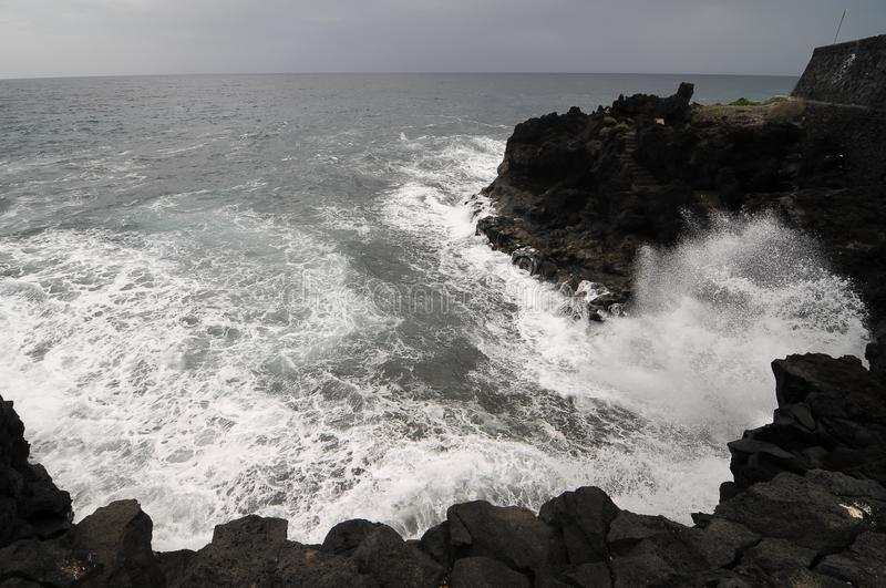 Strong Waves. Crashing on the Volcanic Coast in Tenerife Canary Islands royalty free stock photos