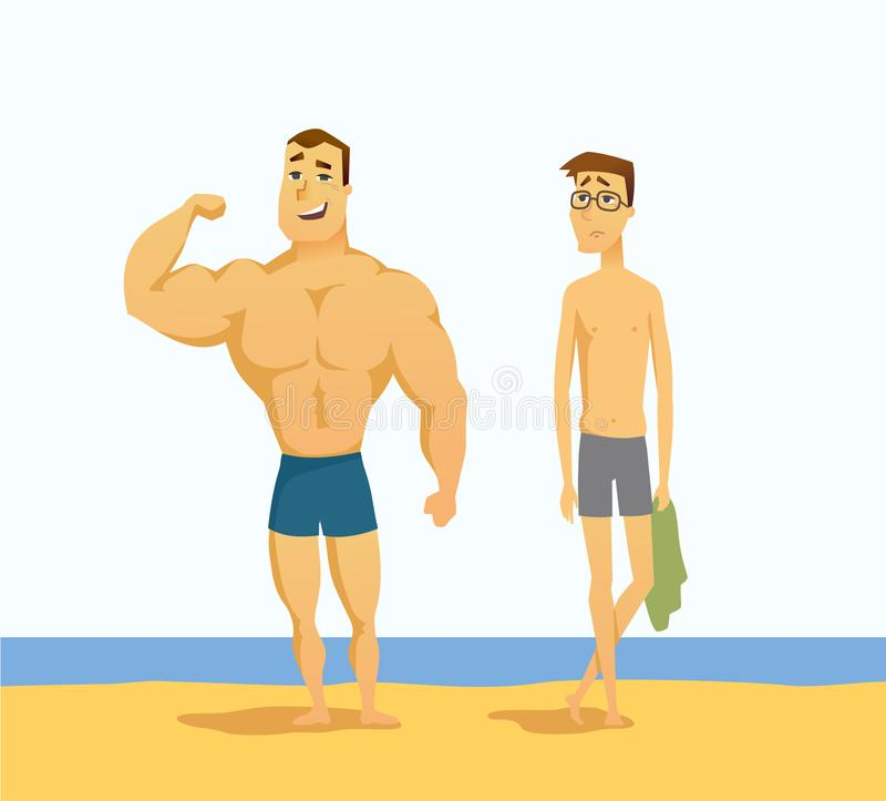 Strong and weak men - cartoon people character isolated illustration vector illustration