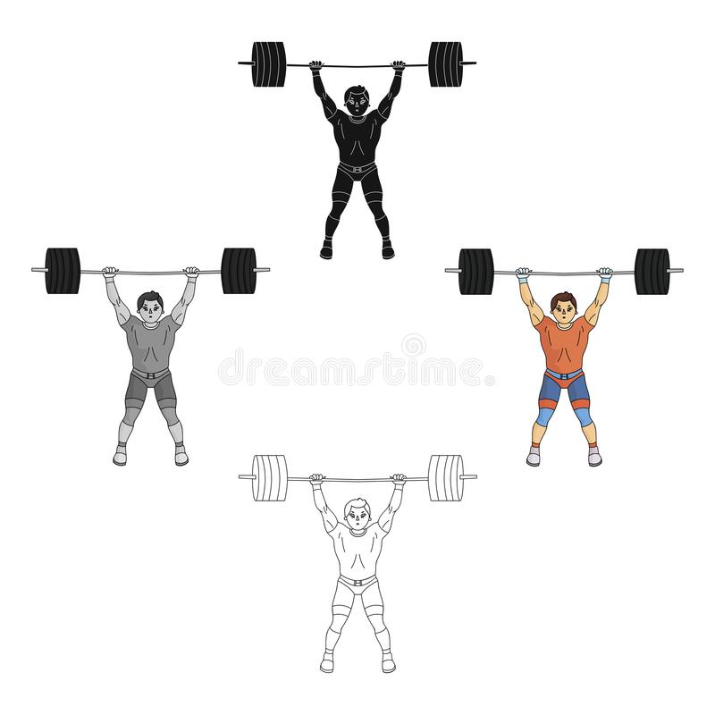 Strong weightlifter raises the bar in the gym.The athlete lifts a huge weight.Olympic sports single icon in cartoon. Black style vector symbol stock web vector illustration