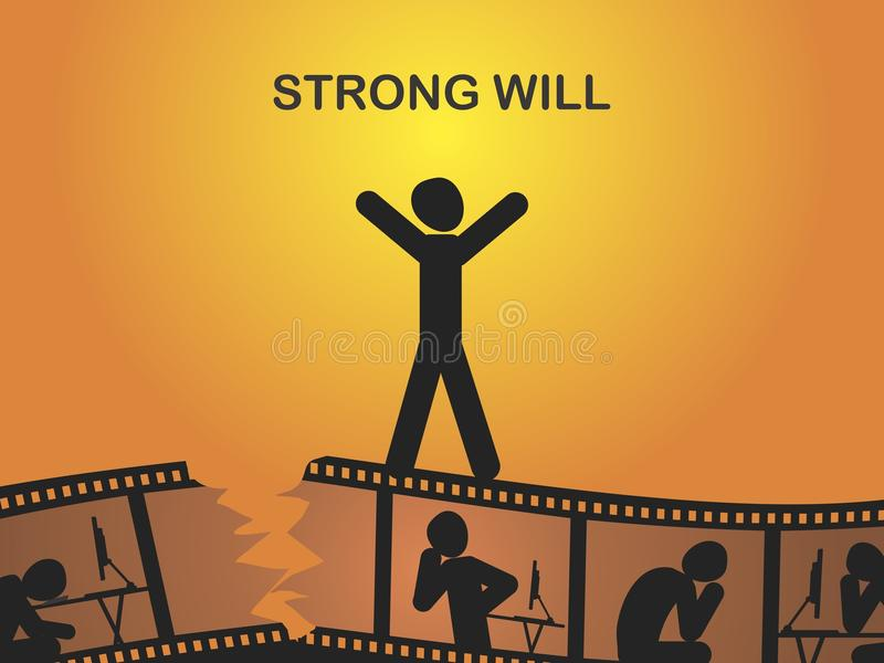 Strong will. Take willpower to get out of the crisis. Vector format