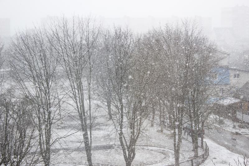 Strong wind and heavy snowfall blizzard in city at winter royalty free stock images