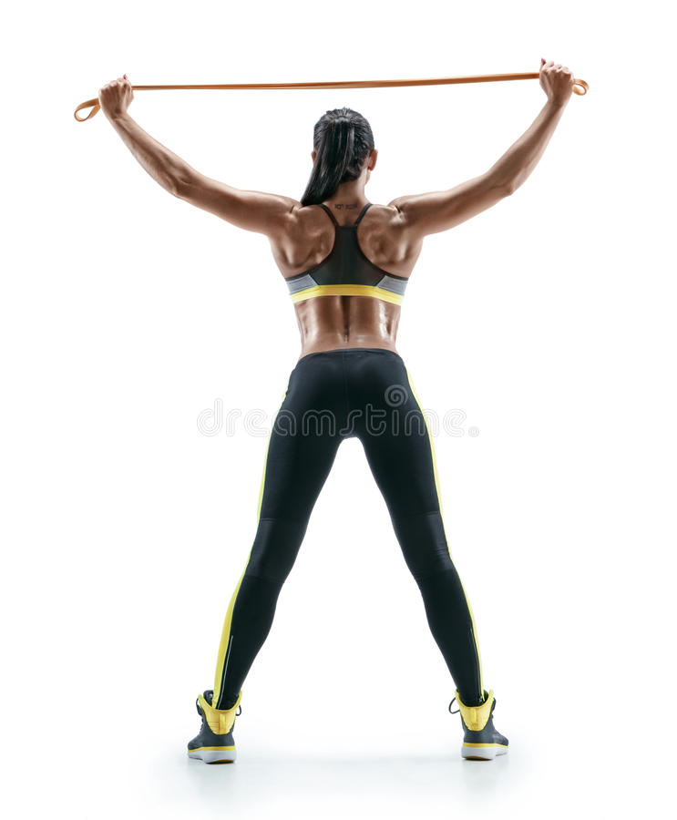 Strong Woman Performs Exercises For The Muscles Of The
