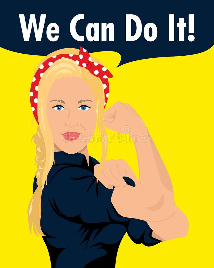 Strong woman saying we can do it royalty free illustration