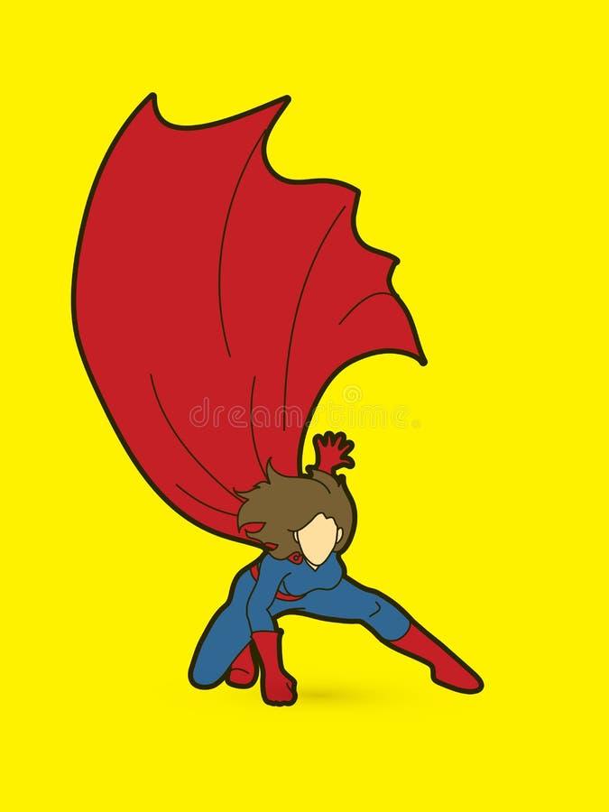 Strong Woman , Superhero landing powerful action vector illustration