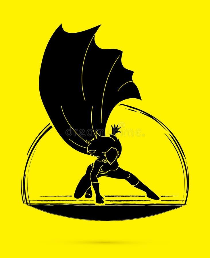 Strong Woman, Superhero landing powerful action. Illustration graphic vector stock illustration