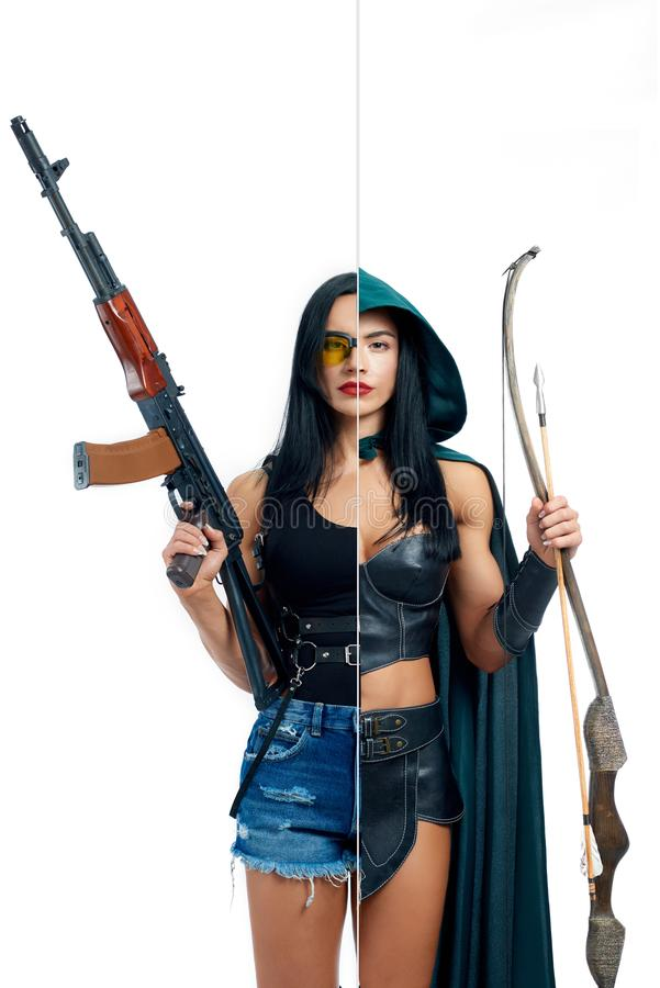 Strong woman in two occupations of shooter and actress. Strong woman in two occupations of shooter and actress isolated on white background. Muscular girl royalty free stock image