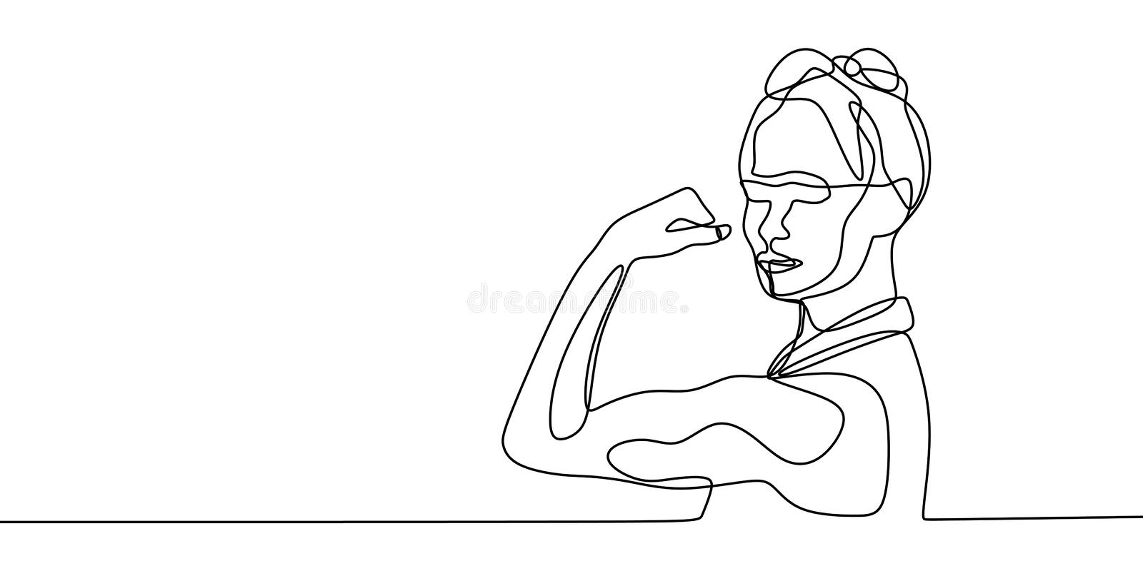 Strong women continuous one line drawing vector illustration. Concept of girl power minimalism design. Female fist art strength arm graphic hand icon sketch vector illustration