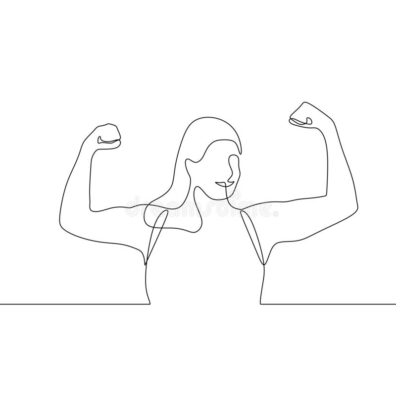Strong women raising her hands up continuous one line drawing royalty free illustration