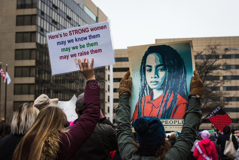 Strong Women - Womens March - Washington DC stock images