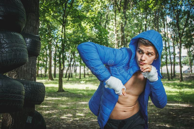 Young boxer in training royalty free stock photos