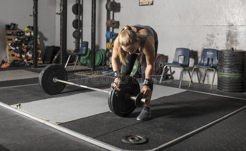 Strong young female weight lifter loading weights onto barbell in gym stock image