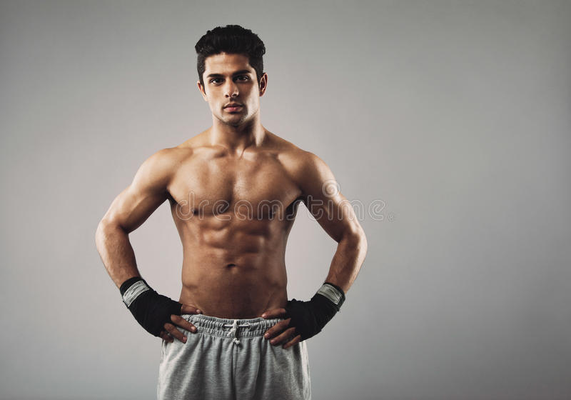 Strong young male boxer on grey background royalty free stock images