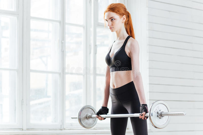 Strong young woman doing exercises with barbell royalty free stock photography