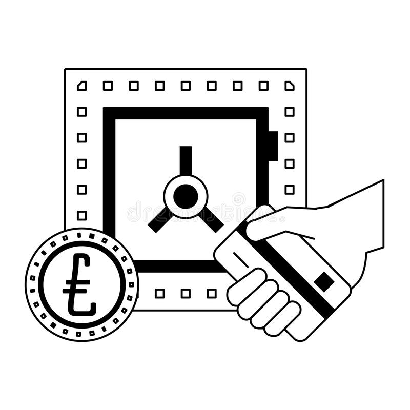 Strongbox with euro coin and hand holding credit card vector illustration