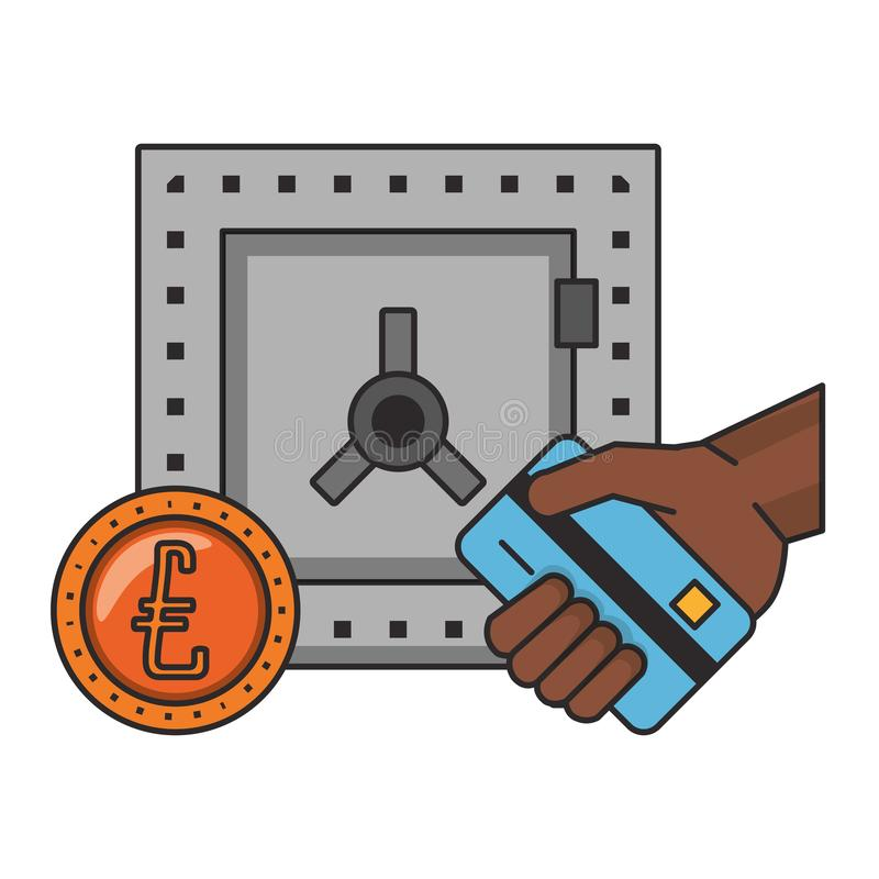 Strongbox with euro coin and hand holding credit card stock illustration