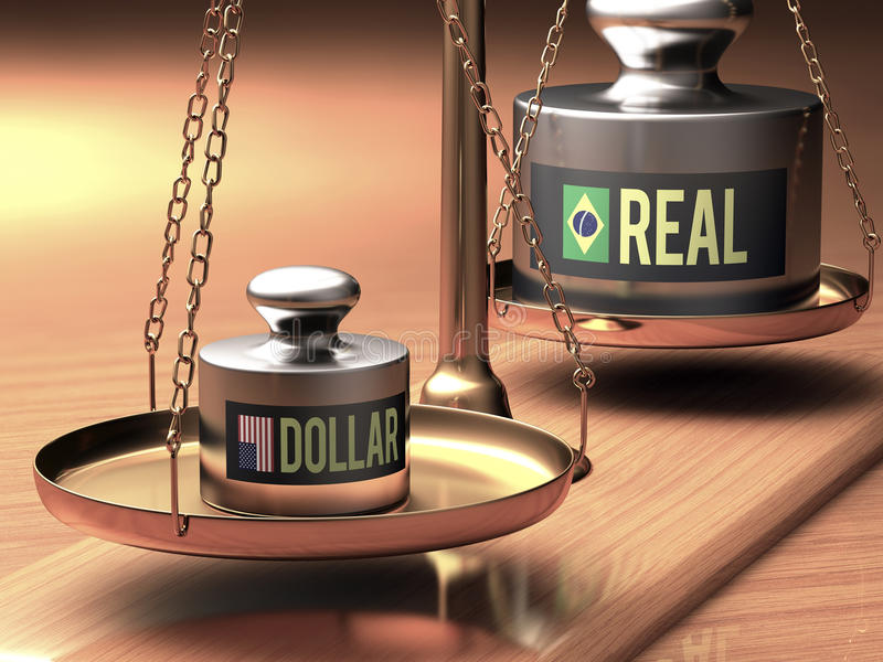 Stronger Dollar x Real. Scales of justice weighing two currencies. Stronger dollar than the real. Clipping path included vector illustration