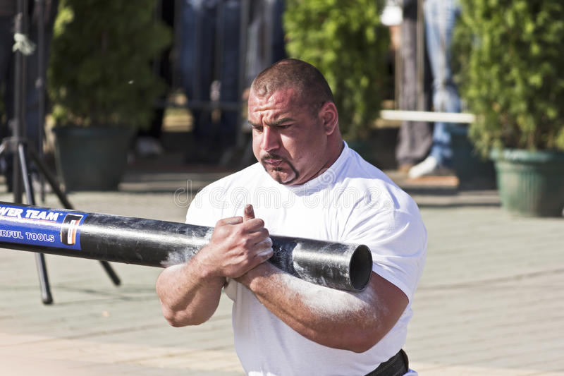 The Strongest Man Ervin Katona. Competion of the strongest man in Novi Sad, Serbia stock photography