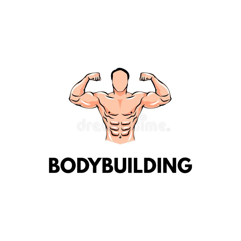 strongman Bodybuilder sportsman Bodybuildingsembleem, Sportkenteken Vector stock illustratie