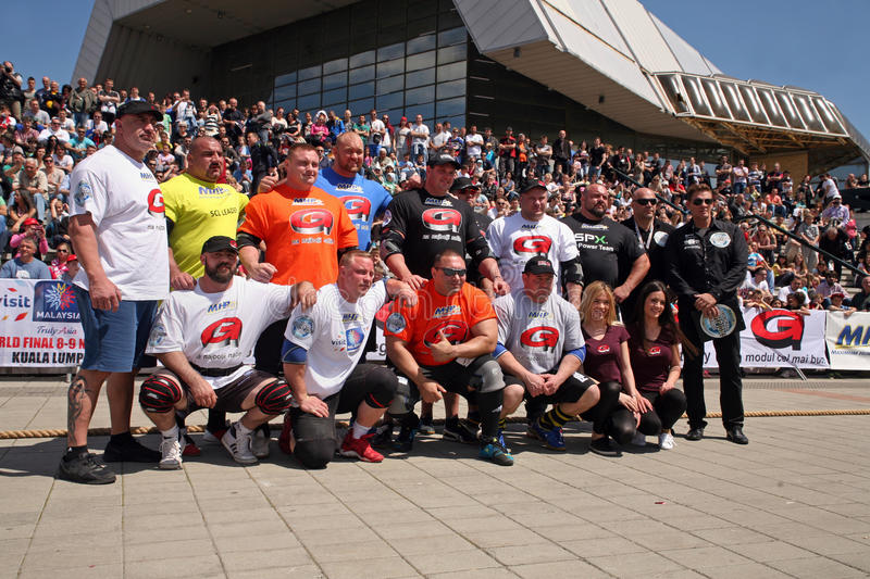 Strongman Champions League stage Serbia stock image