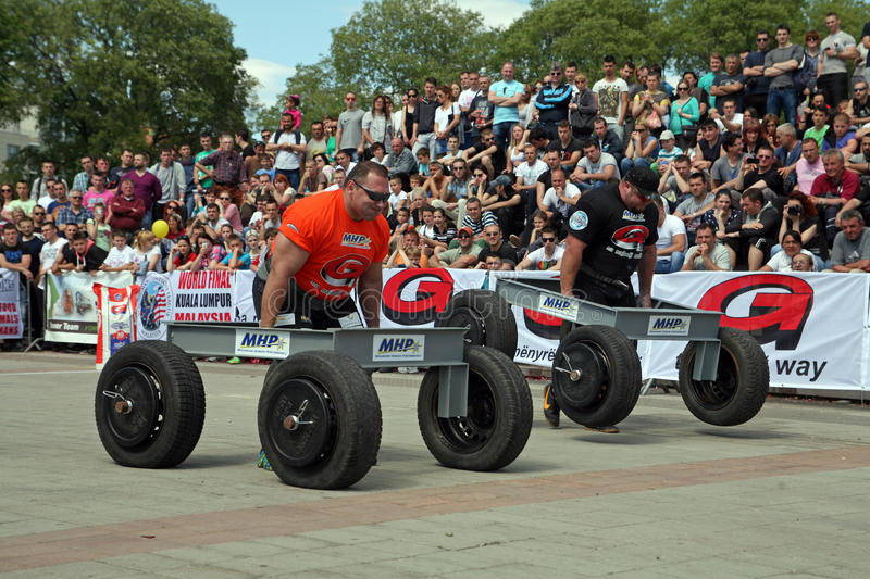 Strongman Champions League stage Serbia royalty free stock photo