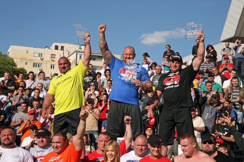 Strongman Champions League stage Serbia stock photos