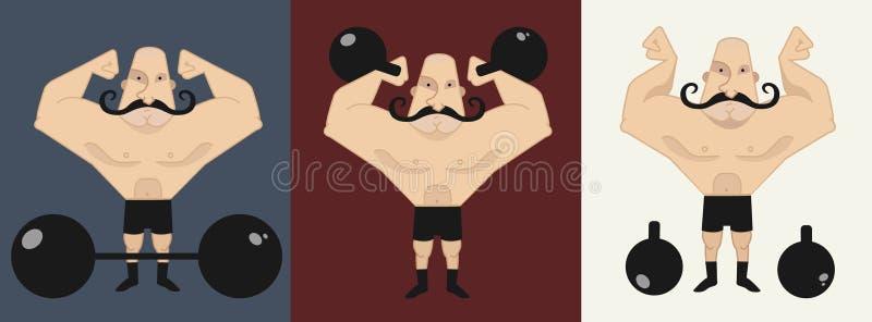 3 strongmans em poses diferentes ilustração royalty free