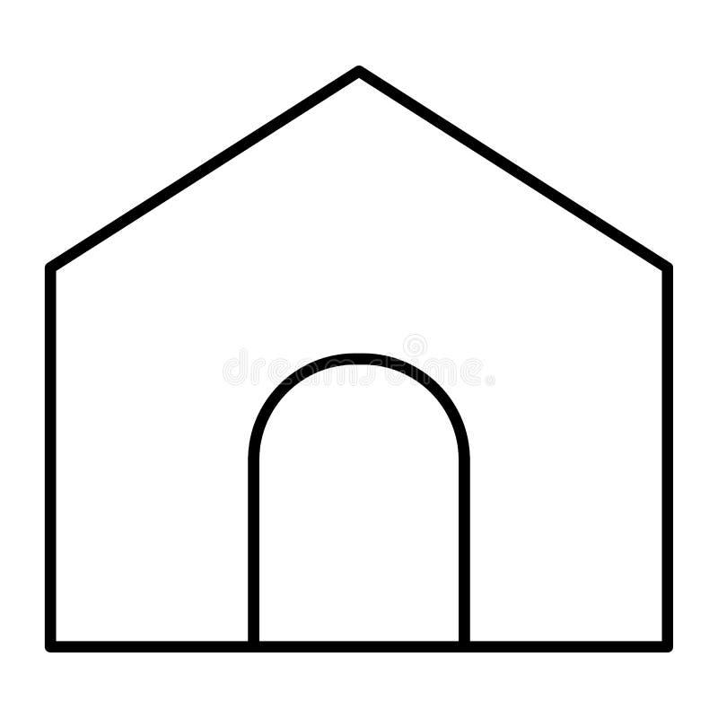 Strony domowej cienka kreskowa ikona Domowa ilustracja odizolowywająca na bielu Głównej strony konturu stylu projekt, projektując royalty ilustracja