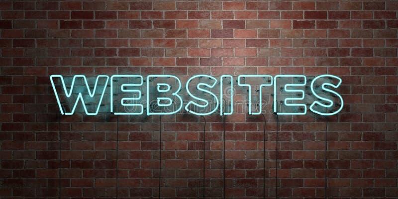 STRONY INTERNETOWE - fluorescencyjny Neonowej tubki znak na brickwork - Frontowy widok - 3D odpłacający się królewskość bezpłatny ilustracja wektor