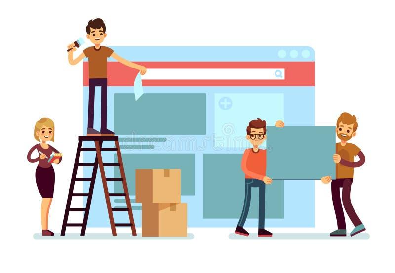 Strony internetowej budowa i webdesign ui budynek z ludźmi zespalamy się Sieć interfejsu rozwoju wektoru pojęcie ilustracja wektor