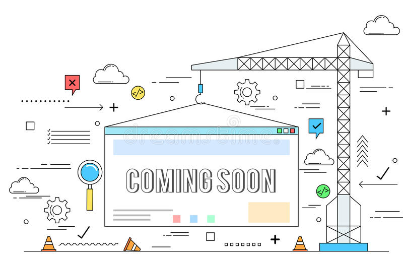 Strony internetowej budowy pojęcia kreskowego stylu ilustracja ilustracja wektor