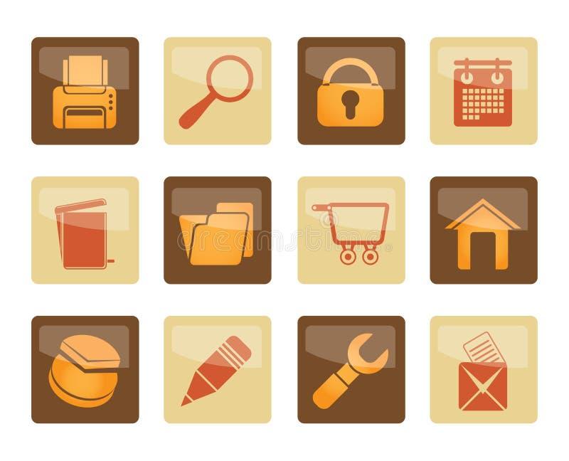 Strony internetowej, interneta i komputeru ikony nad brown tłem, royalty ilustracja