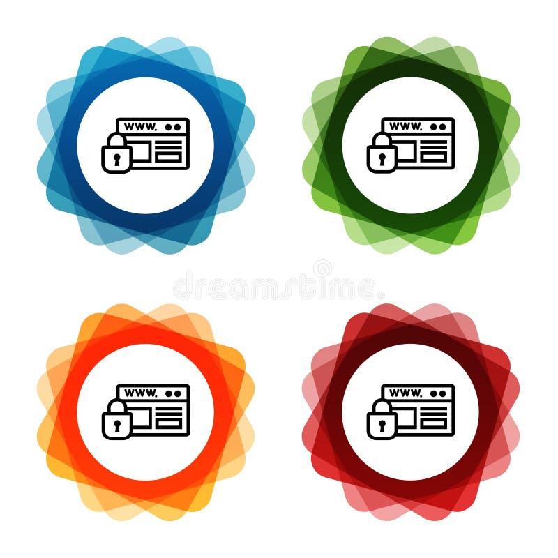 Strony internetowej ochrony https kłódki ikony Eps10 Wektor ilustracji